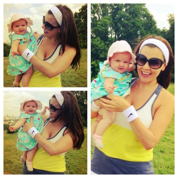 Imogen Thomas enjoys tennis with daughter Ariana Siena