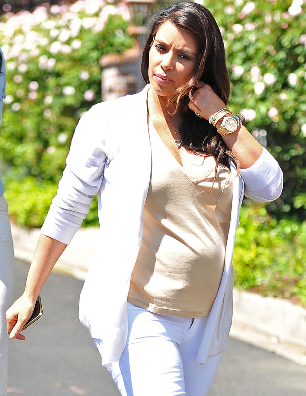 Kim Kardashian shows off her baby bump as she goes out to lunch at Il Pastaio after house hunting with a friend, April 2013