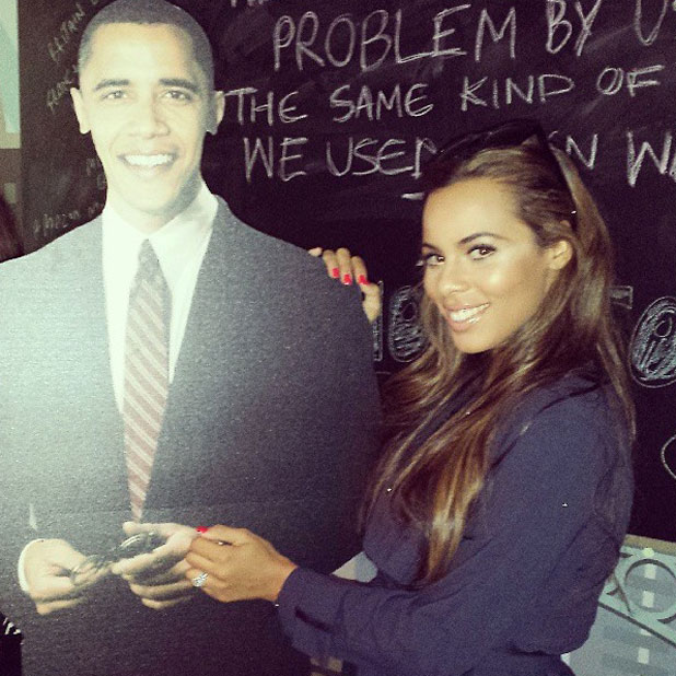 Rochelle Humes cosies up to Barack Obama cutout, 3 July 2013
