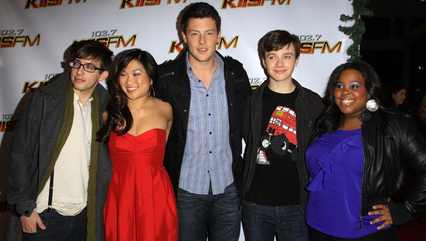 Cory Monteith and the cast of Glee attend KISS FM's Jingle Ball 2009 at the Nokia LA Live Theatre - Arrivals and Inside, Los Angeles, California - 05.12.09