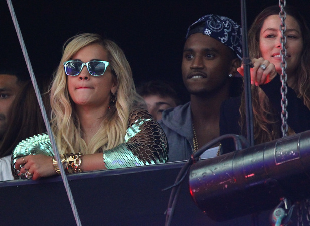 Jessica Biel and Rita Ora watch as Justin Timberlake performs at Wireless Fesitval, London's Queen Elizabeth Olympic Park, July 12 2013