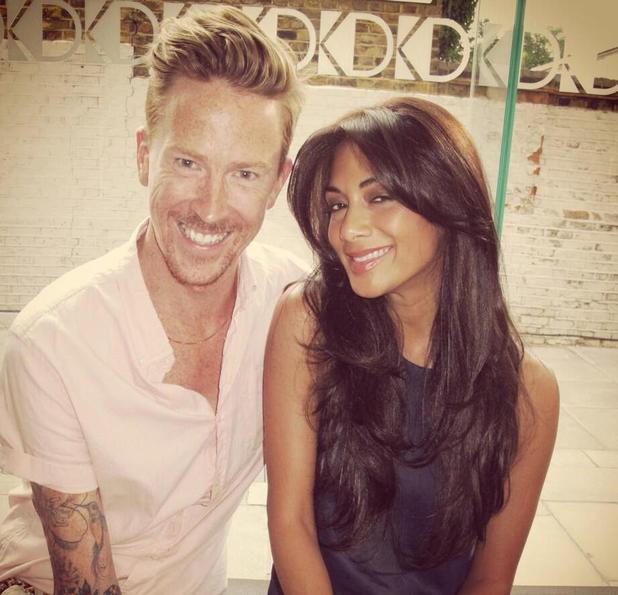 Nicole Scherzinger with hairdresser Ben Cooke and a new hair cut and colour, 14 July 2013