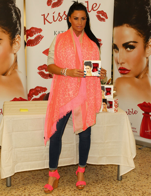 "Katie Price promotes her new fragrance ""Kissable"" at Tesco Extra in Basildon, 11 July 2013"