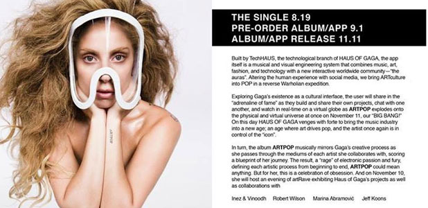 Lady Gaga announces ARTPOP album date with post on Facebook, 12 July 2013