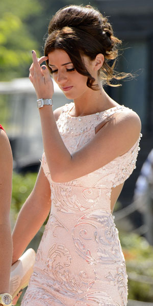 Lucy Mecklenburgh at Carol and Mark Wright's vow renewal, July 2013