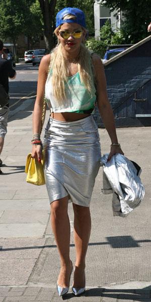 Rita Ora steps out in West London wearing silver skirt on 9 July 2013