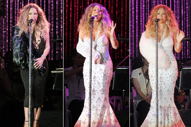 Mariah Carey wearing three different slings on her arm - MLB All Star Charity Concert, New York, 13 Jul 2013