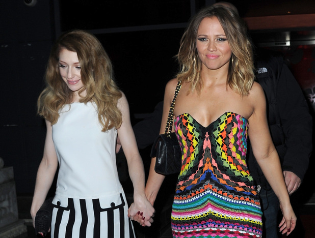 Nicola Roberts, Kimberley Walsh: Girls Aloud end of tour party held at Vermilion & Cinnabar. 21 March 2013