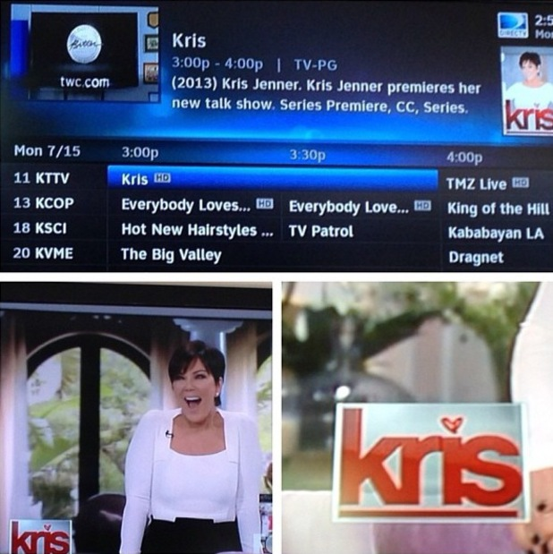 Kim Kardashian posts picture of her watching The Kris Jenner Show - 15 July 2013