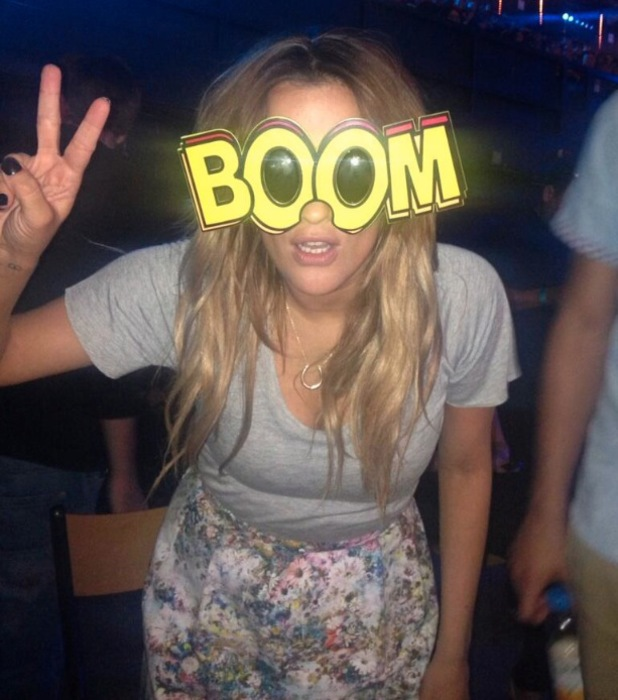 Caroline Flack Twitter backstage at The X Factor Boom sunglasses