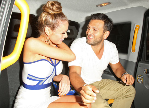 Chloe Sims is picked up from the ITV summer party by Joe Fournier, 17 July 2013