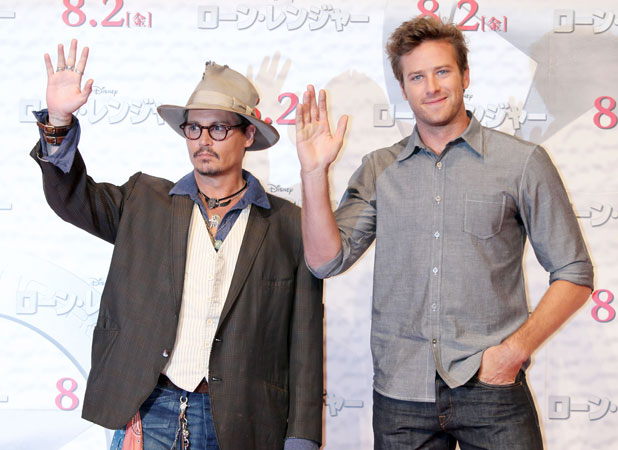 'The Lone Ranger' film photocall, Tokyo, Japan - 17 Jul 2013 Johnny Depp and Armie Hammer