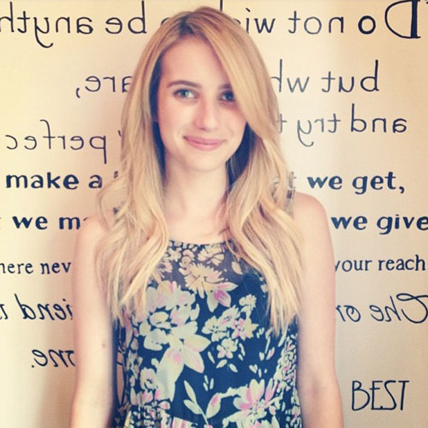 Emma Roberts has blonde hair and extensions, 15 July 2013