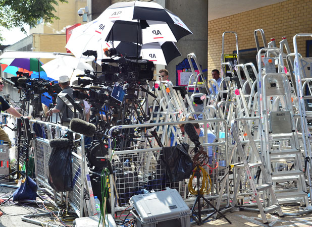 Media set up stepladders and claim positions outside the Lindo Wing of St Mary's hospital where Prince William and his wife Catherine's baby will be born, July 2013