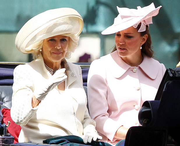 Duchess of Cambridge and Duchess of Cornwall at Trooping the Colour 2013 - The Queen's Birthday Parade - Horse Guards Parade