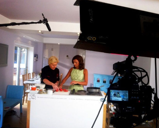 Lucy Mecklenburgh films cooking classes for her Results WIth Lucy website, 17 July 2013