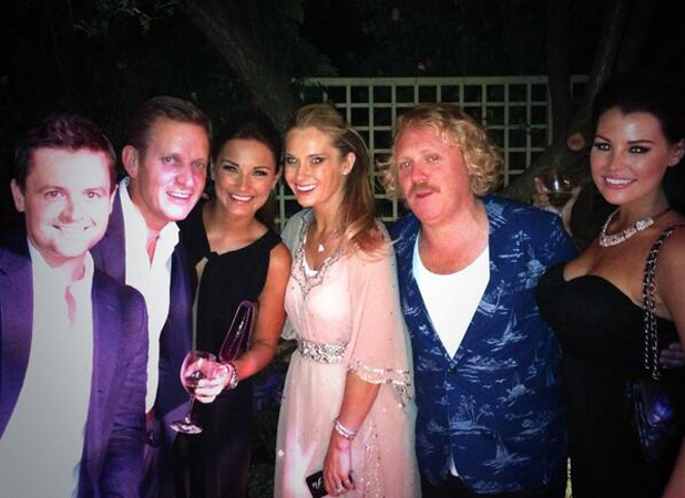 TOWIE's Jessica Wright and Sam Faiers at ITV party with Leigh Francis, Declan Donnelly and Jeremy Kyle