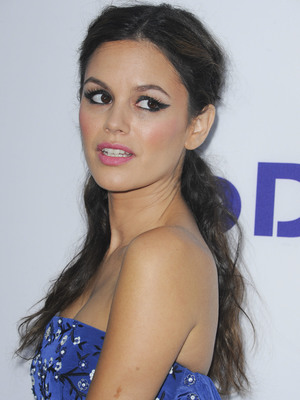 Rachel Bilson at the To Die For premiere wearing a blue dress and pink lipstick - LA, 23 July 2013