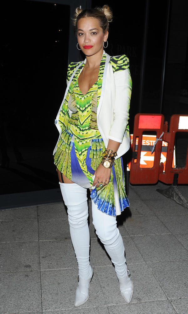 Rita Ora wearing white thigh high boots for her sister's birthday at Scotch members club - London, 25 July 2013