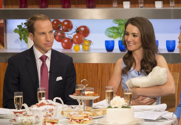 Melanie Sykes and Gino D'Acampo with William and Kate - Look-a-likes Simon Watkinson and Heidi Agan 24 Jul 2013