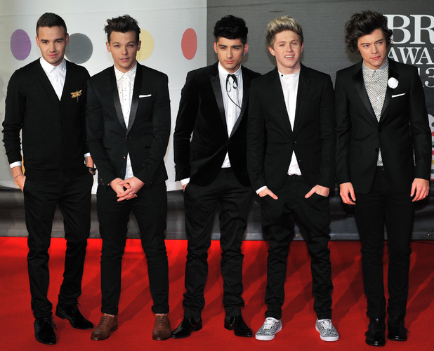 One Direction Liam Payne, Niall Horan, Louis Tomlinson, Zayn Malik, Harry Styles - The 2013 Brit Awards (Brits) held at the O2 Arena