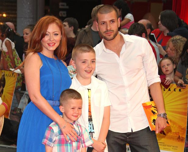 Natasha Hamilton, husband Riad Erraji, and sons Josh and Harry attend the premiere of Kung Fu Panda 2 at London's Westfield 05.06.11