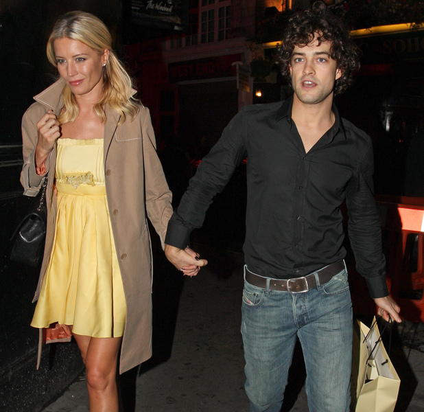 Denise Van Outen and her boyfriend Lee Mead leave the Lyric Theatre after a 'High School Musical' event for Sky 1. London 31.08.08