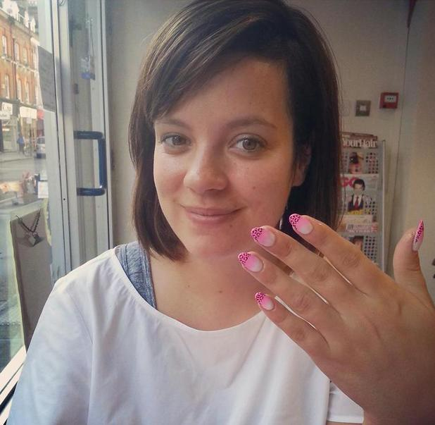 Lily Allen Cooper shows off her white to pink ombre nails with leopard print tips, Kitsune salon, London, 25 July 2013