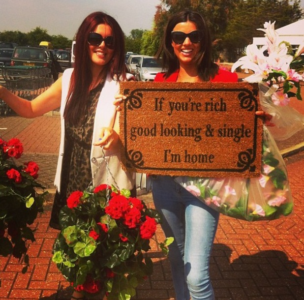 Lucy Mecklenburgh poses with funny doormat - 21 July 2013