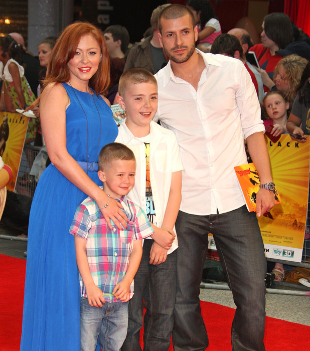 Natasha Hamilton, husband Riad Erraji, and sons Josh and Harry attend the premiere of Kung Fu Panda 2 at London's Westfield 05.06.11