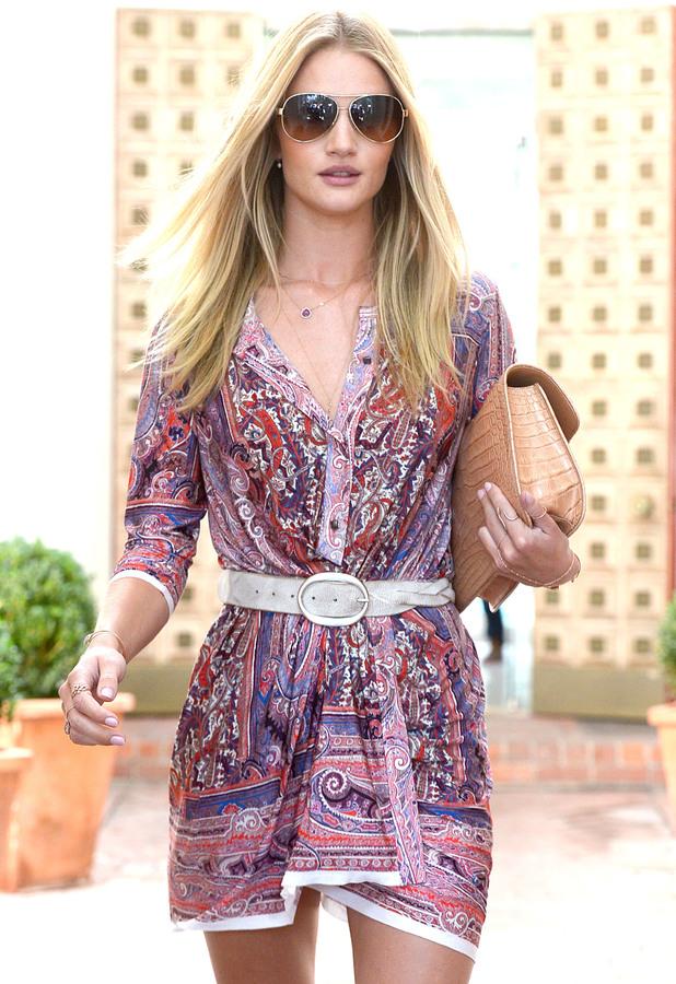 Rosie Huntington-Whiteley is seen leaving a salon in Los Angeles, 25 July