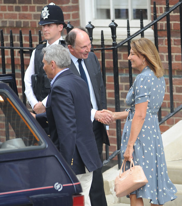 Guests arrive at The Lindo Wing at St Mary's Hospital where Prince William, Duke of Cambridge, his wife Catherine, Duchess of Cambridge are due to leave with their new born son. The couple's first child was safely delivered on July 22 at 4.24pm weighing 8lbs 6oz. The Royal Baby will be third in line to the throne after his father and grandfather, Prince Charles. It has been rumoured that Kate will spend the first few weeks after the birth at her parents home in Bucklebury, Berkshire.