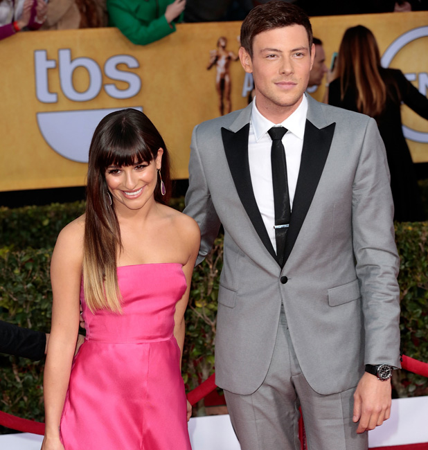 19th Annual Screen Actors Guild (SAG) Awards held at the Shrine Auditorium - Arrivals PersonInImage:	Lea Michele,Cory Monteith Credit :	Brian To/WENN.com Special Instructions : Date Created :	01/26/2013