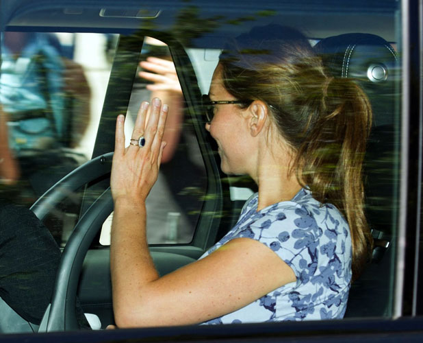Prince William and Catherine Duchess Of Cambridge and royal baby leaving Kensington Palace, London, Britain - 24 Jul 2013