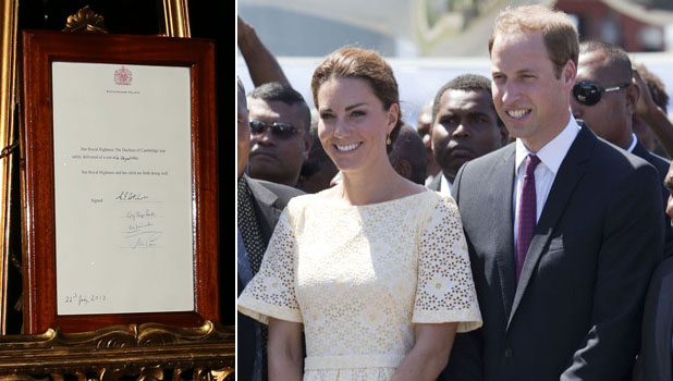 An easel stands in the Forecourt of Buckingham Palace to announce the birth of a baby boy, at 4:24 p.m. to the Duke and Duchess of Cambridge at St Mary's Hospital on July 22, 2013. The proclamation was mounted on a gold-trimmed wooden ease / Kate and William in Tulvalu in 2012