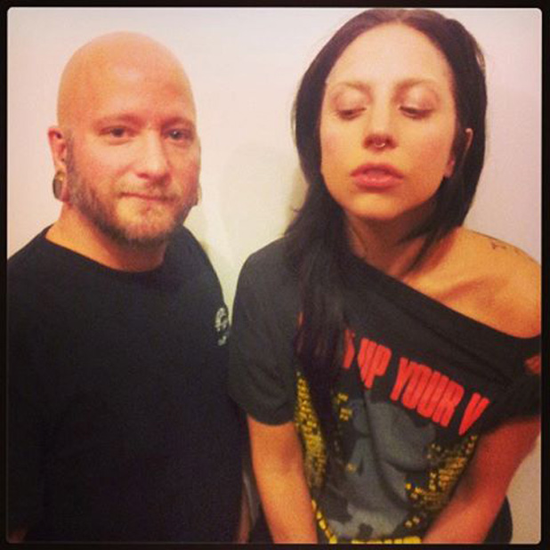 Lady Gaga shows off septum piercing (22 July 2013)