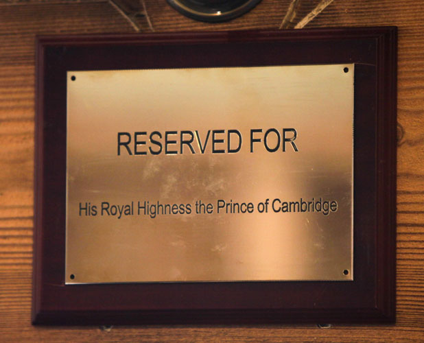 Special baby seat reserved for royal baby at Fort St George pub, Cambridge, Britain - 23 Jul 2013