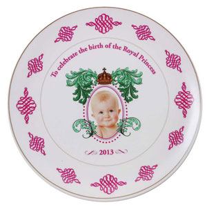 """Royal baby souvenir blunder. Plates emblazoned with the words """"To celebrate the birth of the Royal Princess"""". 26 Jul 2013"""