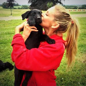 The Hills star Stephanie Pratt poses with dog