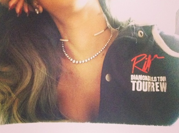 Rihanna posts picture of her dressed in Diamonds world tour jacket - 28 July 2013