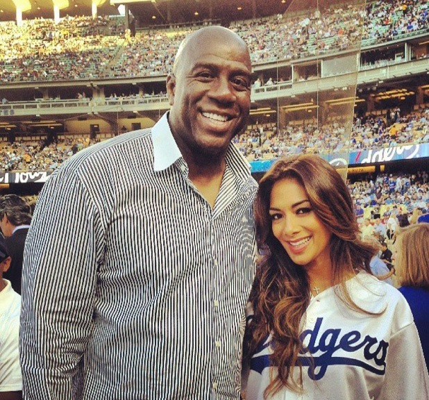 Nicole Scherzinger sings at LA Dodgers game, poses with Magic Johnson - 30 July 2013