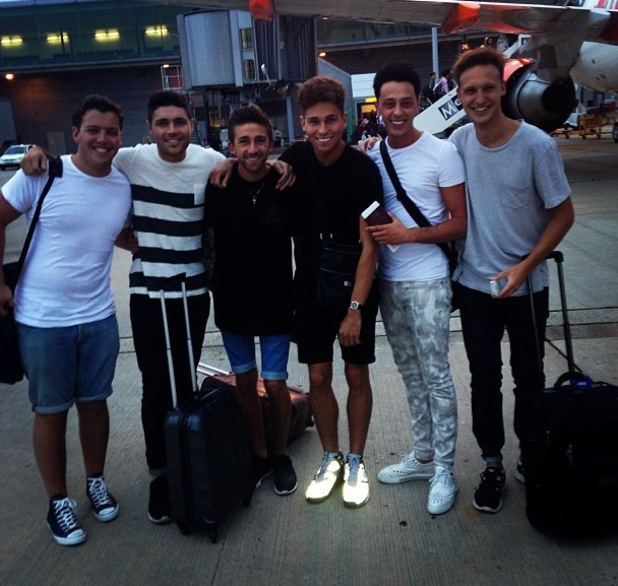 Joey Essex, Tom Pearce, James - Diags' Bennewith board plane to Ibiza - 28 July 2013