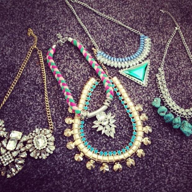 Sam Faiers Billie Faiers show new Minnies Boutique necklaces TOWIE
