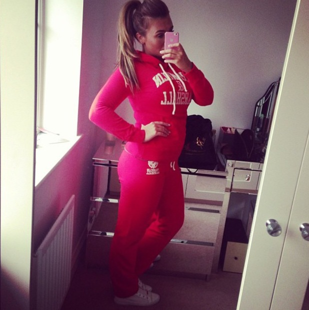 Lauren Goodger poses in red tracksuit - 30 July 2013