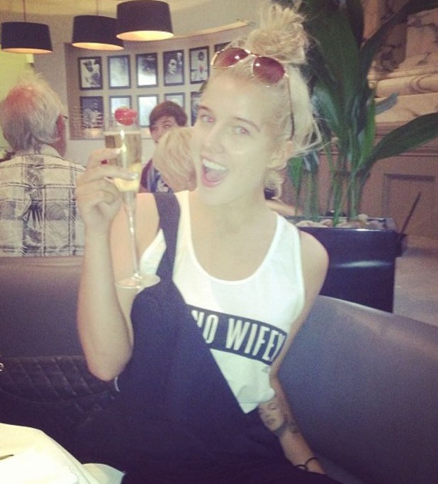 Helen Flanagan poses with a drink - 27 July 2013