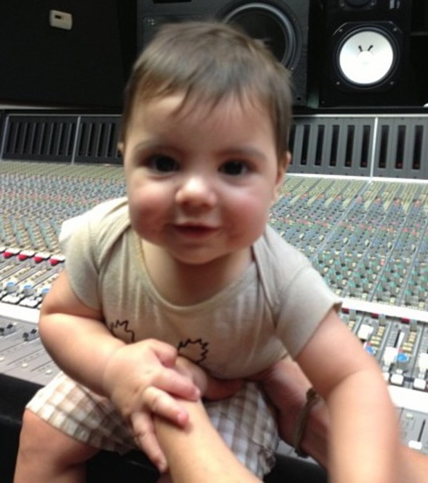 Shakira uploads picture of baby Milan in the studio - July 2013