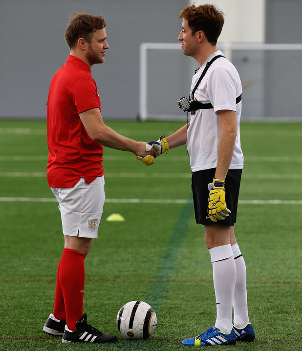Olly Murs and Nick Grimshaw play football for Perfom - 29 July 2013