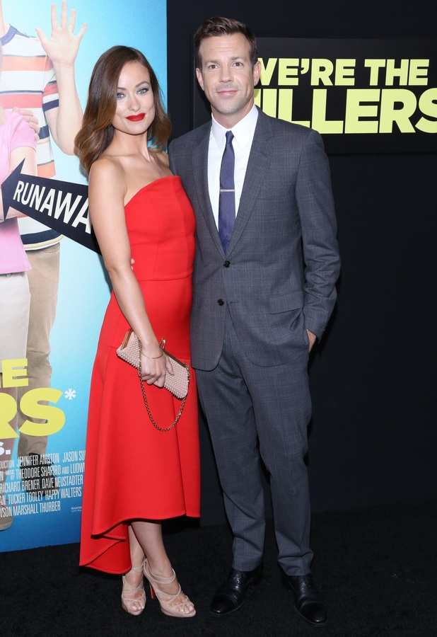 Olivia Wilde, Jason Sudeikis at World premiere of 'We're The Millers' at Ziegfeld Theater