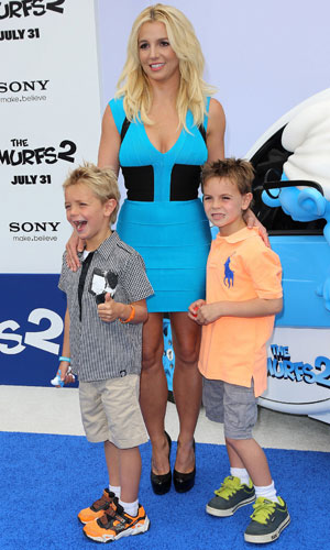 "Celebrities attend COLUMBIA PICTURES ""SMURFS 2"" Premiere at Regency Village Theatre. Britney Spears and her sons, 28 July 2013"