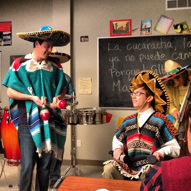 Glee's Kevin McHale and Cory Monteith on set